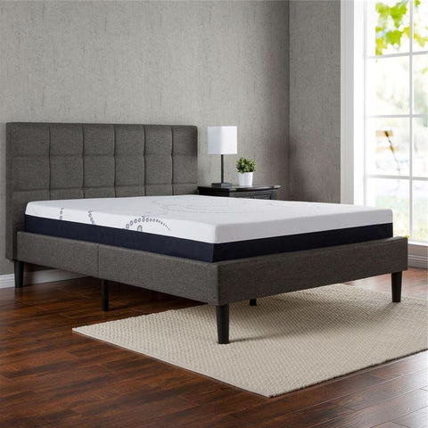 Full size Dark Grey Fabric Upholstered Platform Bed with Headboard-Bedroom > Bed Frames > Platform Beds-Loluxe