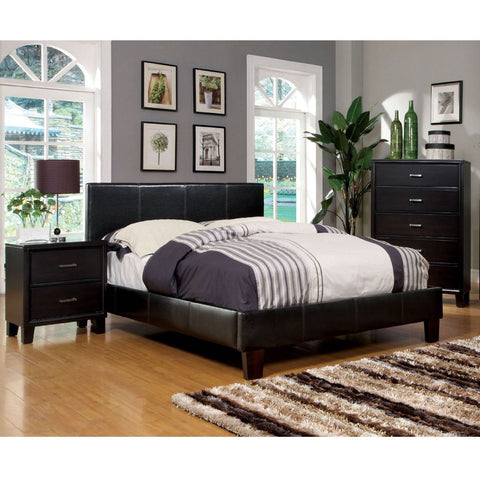 Full size Faux Leather Upholstered Platform Bed in Dark Espresso-Bedroom > Bed Frames > Platform Beds-Loluxe