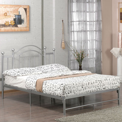 Full size Metal Platform Bed Frame with Headboard and Footboard in Silver-Bedroom > Bed Frames > Platform Beds-Loluxe