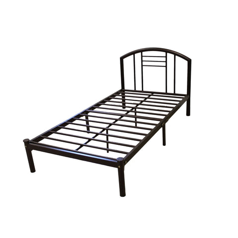 Full size Metal Platform Bed Frame with Headboard in Bronze Finish-Bedroom > Bed Frames > Platform Beds-Loluxe
