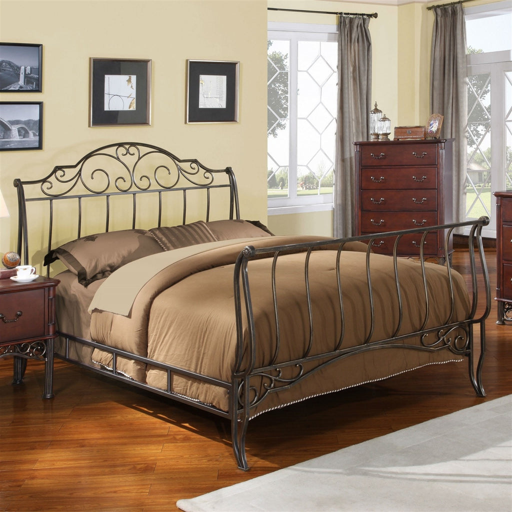 full size metal sleigh bed in antique bronze cast iron with headboard and