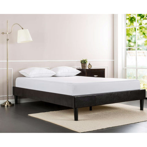 Full size Modern Espresso Faux Leather Platform Bed Frame with Wood Slats-Bedroom > Bed Frames > Platform Beds-Loluxe