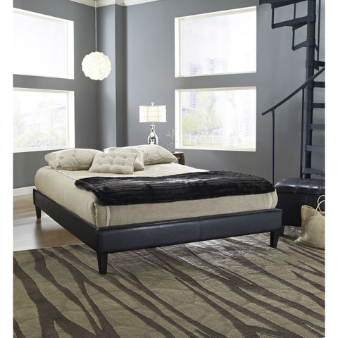 Full size Modern Platform Bed Frame Upholstered in Black Faux Leather-Bedroom > Bed Frames > Platform Beds-Loluxe