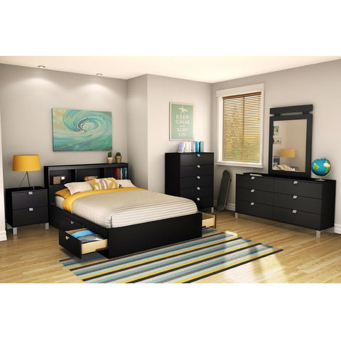 Full size Modern Platform Bed Frame with 4 Storage Drawers in Black-Bedroom > Bed Frames > Platform Beds-Loluxe