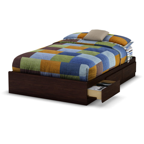 Full size Modern Platform Bed with 3 Storage Drawers in Havana Brown-Bedroom > Bed Frames > Platform Beds-Loluxe