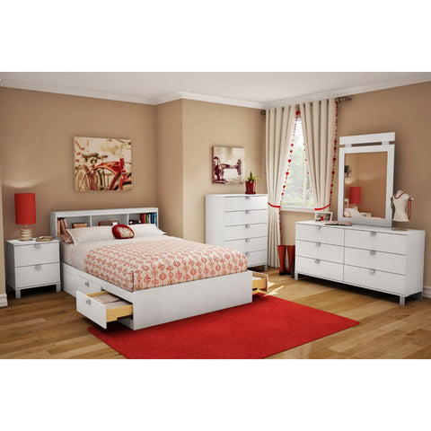 Full size Modern Platform Bed with 4 Storage Drawers-Bedroom > Bed Frames > Platform Beds-Loluxe
