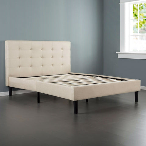 Full size Platform Bed Frame with Taupe Button Tufted Upholstered Headboard-Bedroom > Bed Frames > Platform Beds-Loluxe