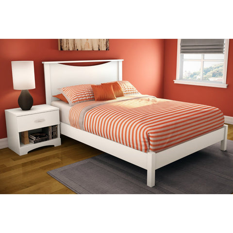 Full size Simple Platform Bed in White Finish - Modern Design