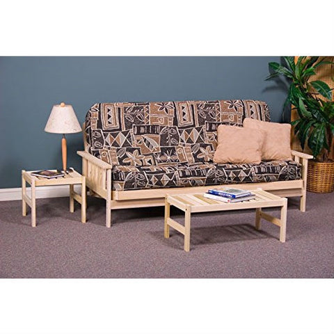 Full size Solid Wood Futon Sofa Bed Frame with Armrests - Unfinished-Living Room > Futons-Loluxe
