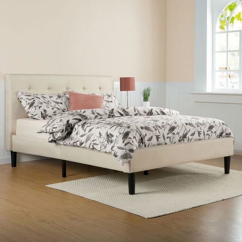 Full size Taupe Beige Upholstered Platform Bed Frame with Headboard-Bedroom > Bed Frames > Platform Beds-Loluxe