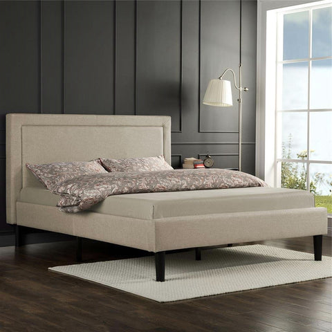 Full size Taupe Upholstered Platform Bed with Classic Headboard-Bedroom > Bed Frames > Platform Beds-Loluxe