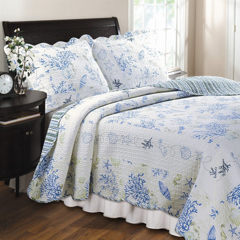 Full/Queen 100% Cotton Quilt Set in Blue Coral Sea Shells Starfish-Bedroom > Quilts & Blankets-Loluxe
