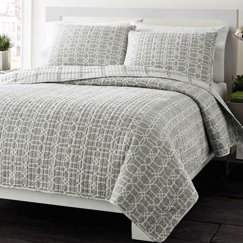 Full/Queen Grey Geometric Medallion Reversible Cotton Coverlet Quilt Set-Bedroom > Quilts & Blankets-Loluxe
