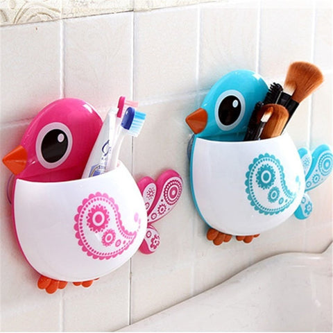 Fun Bird Suction Cup Toothbrush/Makeup Brush Holder 4 Colors-Loluxe