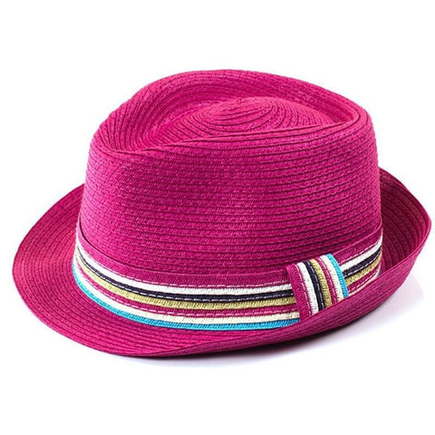 Fun Colorful Summer Straw Panama Women's Hat 5 Colors-Loluxe