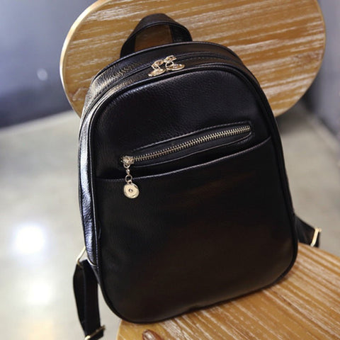 Girl's Fashion High-Quality Black PU Leather Minimalist Solid-Colored Backpack-Loluxe