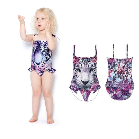 Girl's One-Piece Tiger-Printed Ruffle Bathing Suit 3-9Y-Loluxe