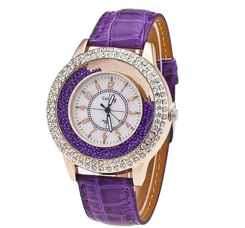 Gogoey New Fashion Ladies Leather Band With Crystals Face-Loluxe