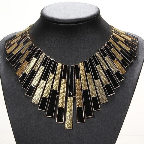 Gold And Black Bib Chunky Statement Necklace Collars Choker-Loluxe