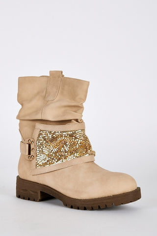 Gold Coloured Panel Beige Biker Boots-Footwear > Boots-Loluxe