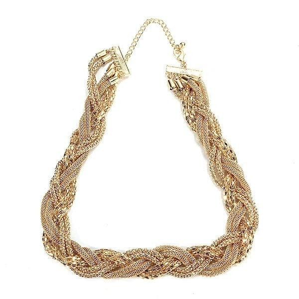 Gold Plated Twist Chain Rolling Cross Shape Lady Statement Necklace-Loluxe