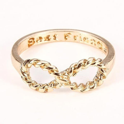 Gold Silver Plated Best Friends Words Bowknot Infinity Finger Ring-Loluxe