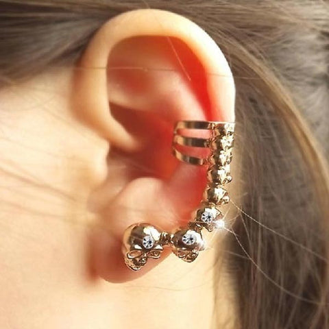 Gold Sliver Plated Punk Skull Ear Clips Earrings Jewelry-Loluxe