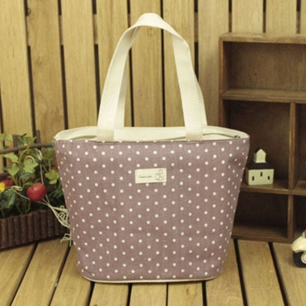 Good Size Lunch/Travel Tote w/Polka Dot Design-Tote-Loluxe