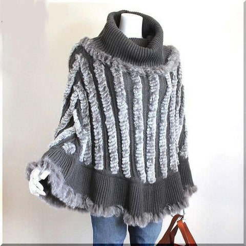 Gorgeous Fashion Designer Knitted Genuine Rabbit Fur Contrast Color Shawl One Size 2 Colors-Loluxe