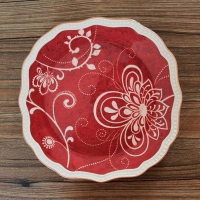 Gorgeous Western Embossed Ceramic Dinner Plates-Loluxe