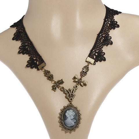 Gothic Lace Rhinestone Beauty Head Beads Pendant Collar Necklace-Loluxe