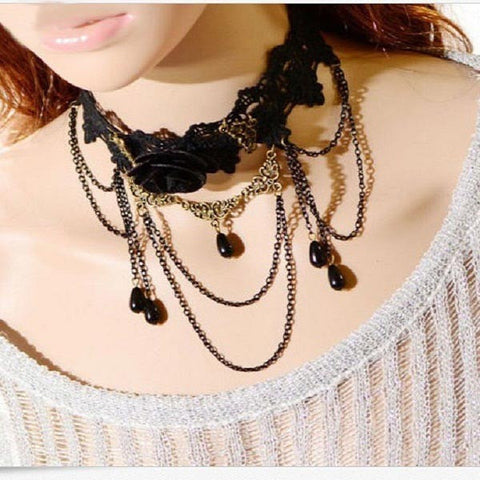 Gothic Women Black Rose Flower Beads Lace Collar Necklace Jewelry-Loluxe