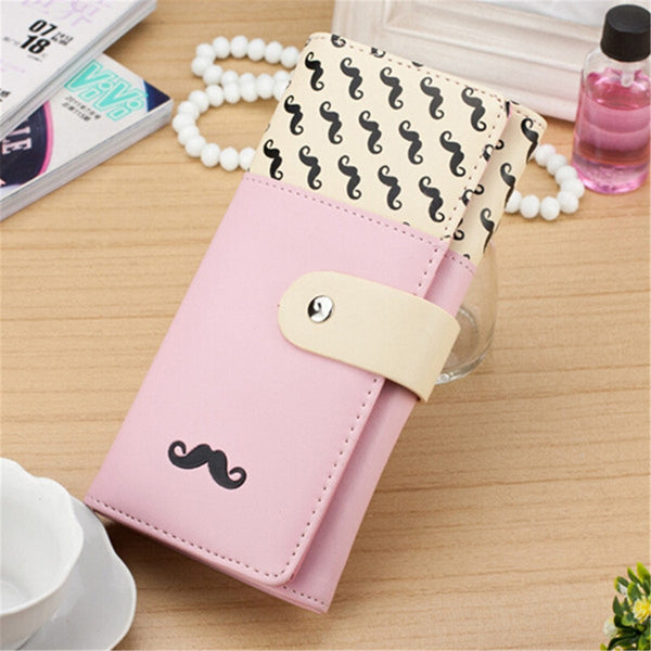 Gotta Have Long Leather Moustache Wallet/Card Holder w/Clasp Closure-coin purse wallet clutch-Loluxe