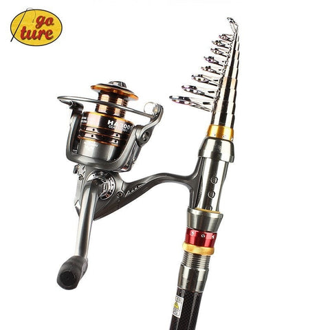 Goture Spinning Rod Reels Combo Spinning Fishing Pole Freshwater Saltwater Fixed Spool Coil 12+1BB Left/right Metal Body 5.2:1-Loluxe