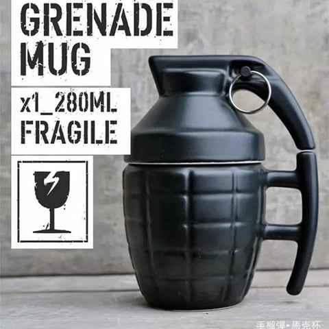 Great Gift or Just To Start A Conversation! Creative Ceramic Grenade Coffee/Tea Mug w/Lid & Handgrip Microwave/Dishwasher Safe Super Cool! Black or White-Loluxe