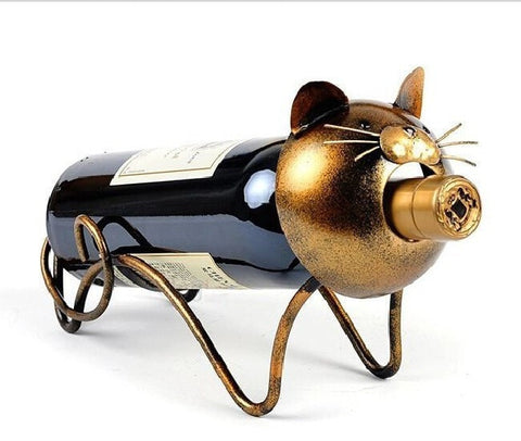 Greedy Cat Iron Wine Bottle Holder-Kitchen > Wine Racks and Coolers-Loluxe