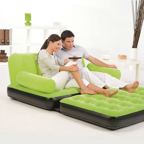 Green Inflatable Indoor/Outdoor Muti Purpose Sofa Couch Bed Lounge w/ Air Pump-Living Room > Sofas-Loluxe