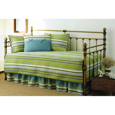 Green Stripe 5-Piece Daybed Cover & Bedding Set-Bedroom > Comforters and Sets-Loluxe