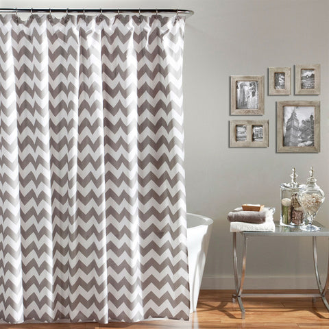 Grey and White Chevron Polyester Fabric Shower Curtain 72 x 72 inch-Bathroom > Shower Curtains-Loluxe