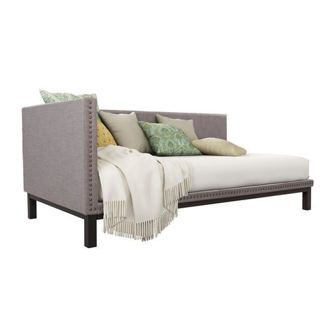 Grey Linen Fabric Upholstered Mid-Century Modern Daybed-Bedroom > Bed Frames > Daybeds-Loluxe