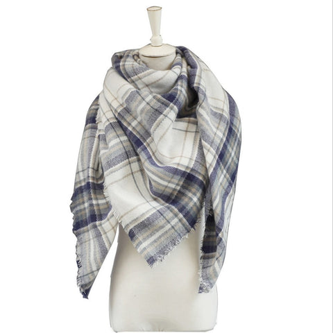 Grey Plaid High-Quality Cashmere Warm Soft Scarf-Loluxe