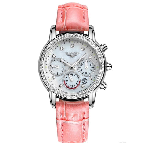 GUANQIN Leather Sapphire Crystal Women's Wrist Watch-Loluxe