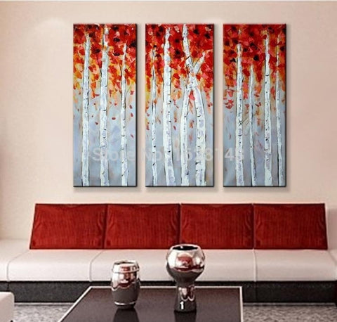 HAND MADE 3 piece CANVAS wall art WHITE RED WOODS Unframed-Loluxe