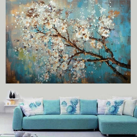 Hand Painted Modern Abstract Flower Canvas Unframed-Loluxe
