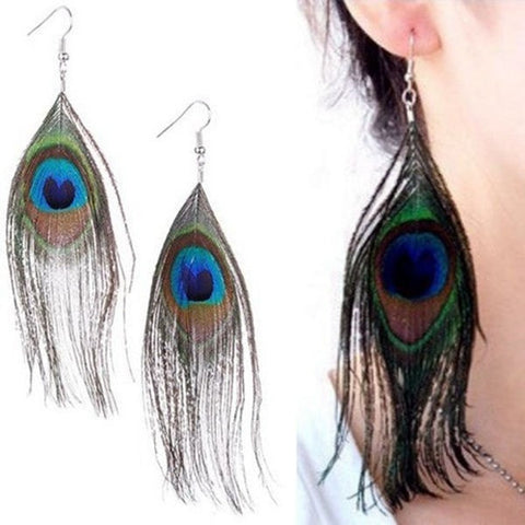 Handmade Peacock Feather Dangle Hook Chandelier Earrings-Loluxe