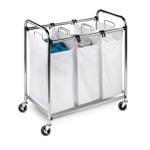 Heavy Duty Commercial Grade Laundry Sorter Hamper Cart in White Chrome-Bathroom > Laundry Hampers-Loluxe
