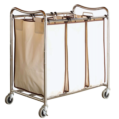 Heavy Duty Laundry Cart with 3 Cream Tan Hamper Bags and Lockable Wheels-Bathroom > Laundry Hampers-Loluxe