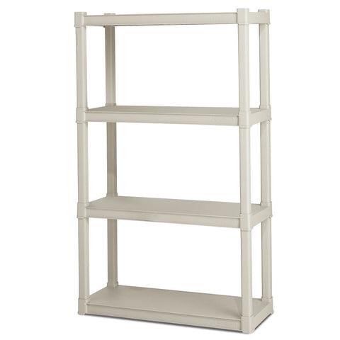 Heavy Duty Plastic 4-Shelf Storage System Shelves-Accents > Shelving Units-Loluxe