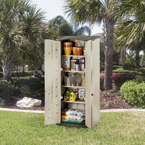 Heavy Duty Vertical Outdoor Cabinet Weather Resistant Storage Shed-Accents > Storage Cabinets-Loluxe