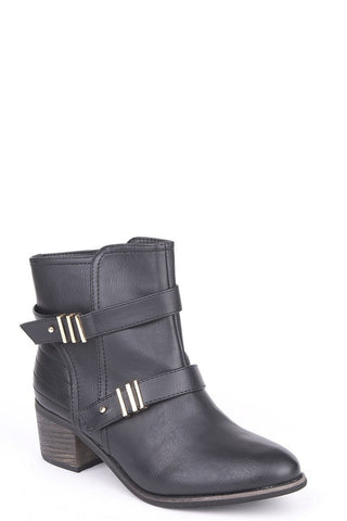 Heeled Ankle Boots With Strap And Metal Detail-Footwear > Boots-Loluxe